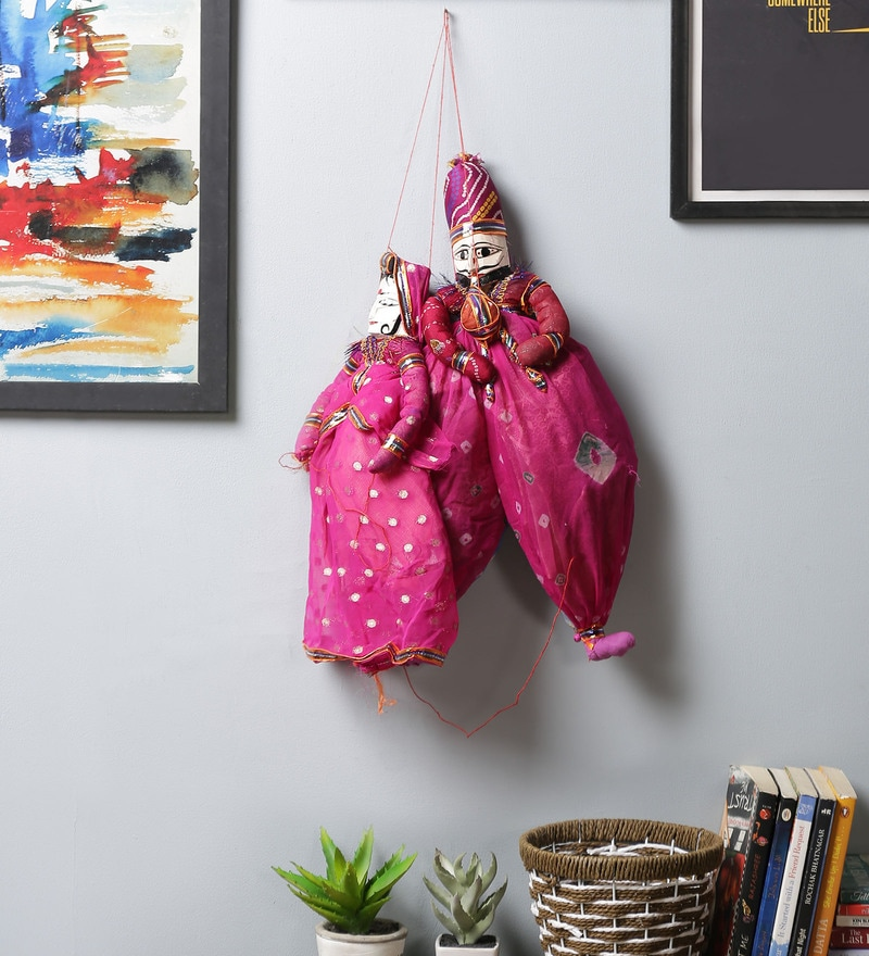 Pink Cloth Puppet Wall Hanging - Set of 2 by Art of Jodhpur