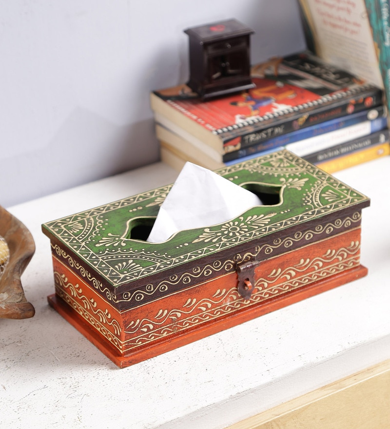 Multicolour Solid Wood Handpainted Jodhpuri Tissue Holder by Art of Jodhpur