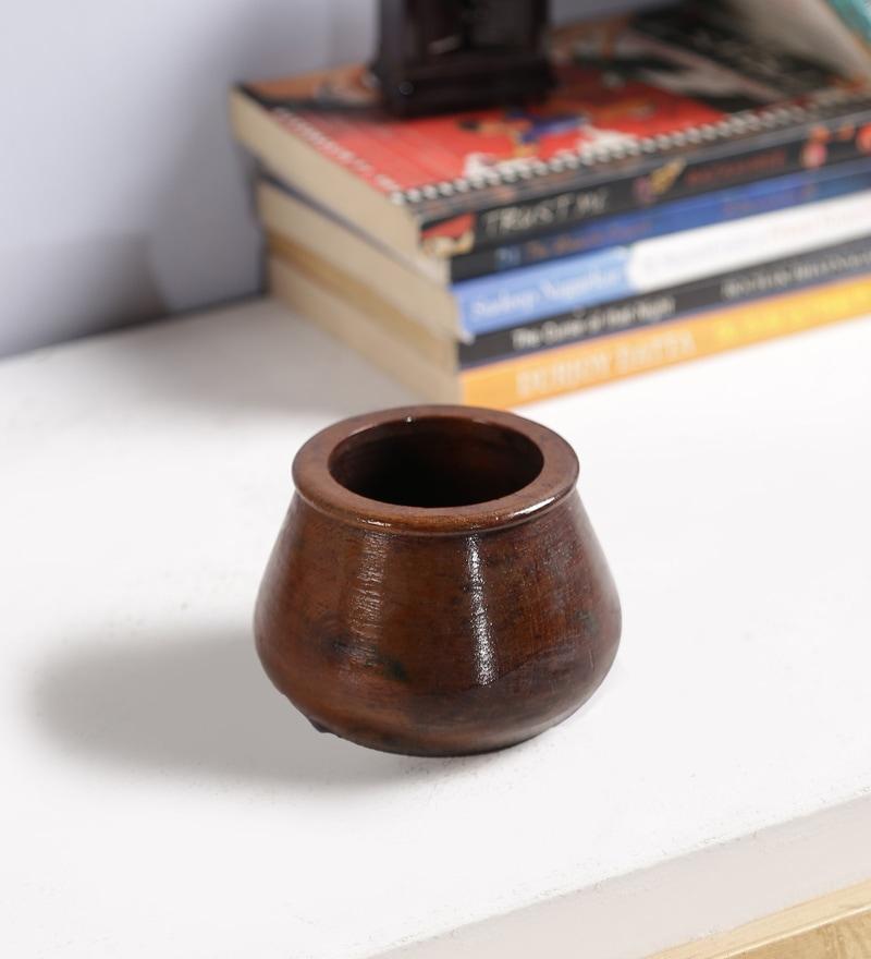 Brown Solid Wood Vase by Art of Jodhpur