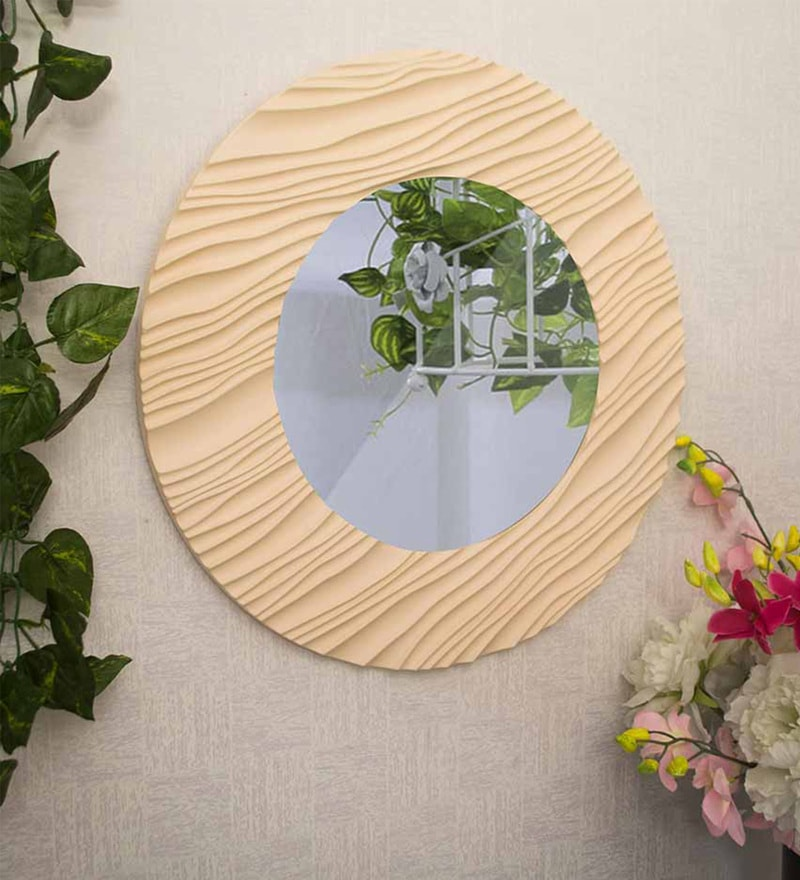 Beige MDF Wampum Wave Minimalist Wall Mirror by Art Street