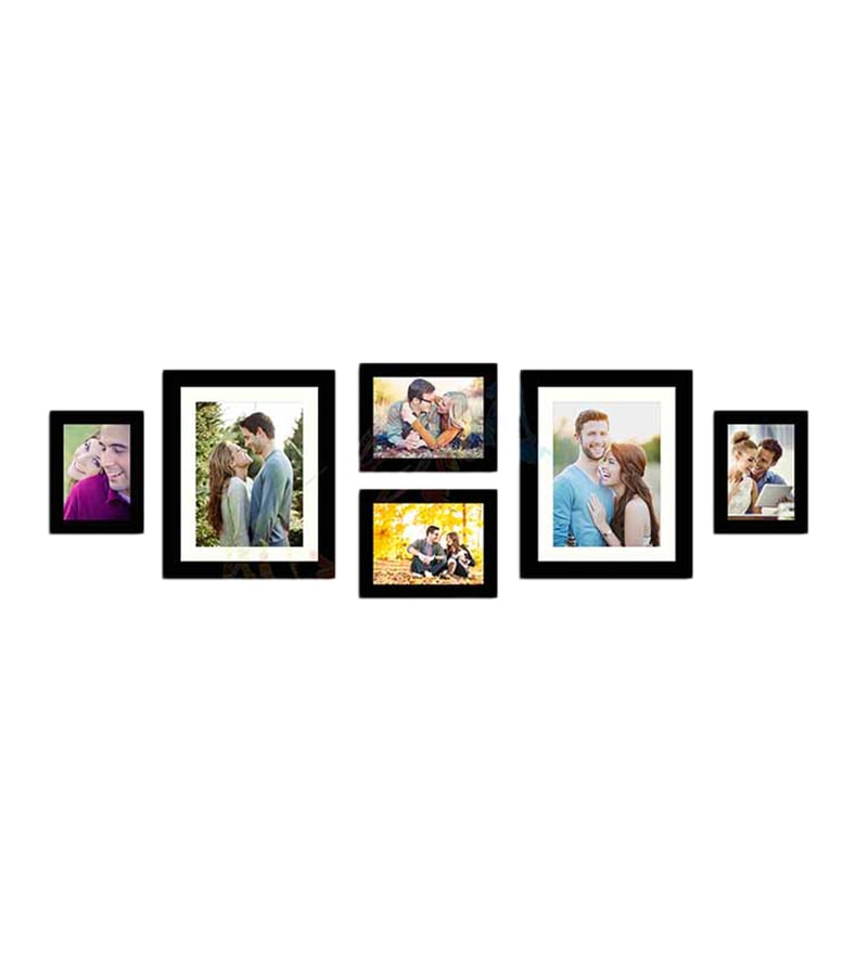 Black Fibre Wood Effortless Individual Wall Photo Frame - Set of 6 by Art Street