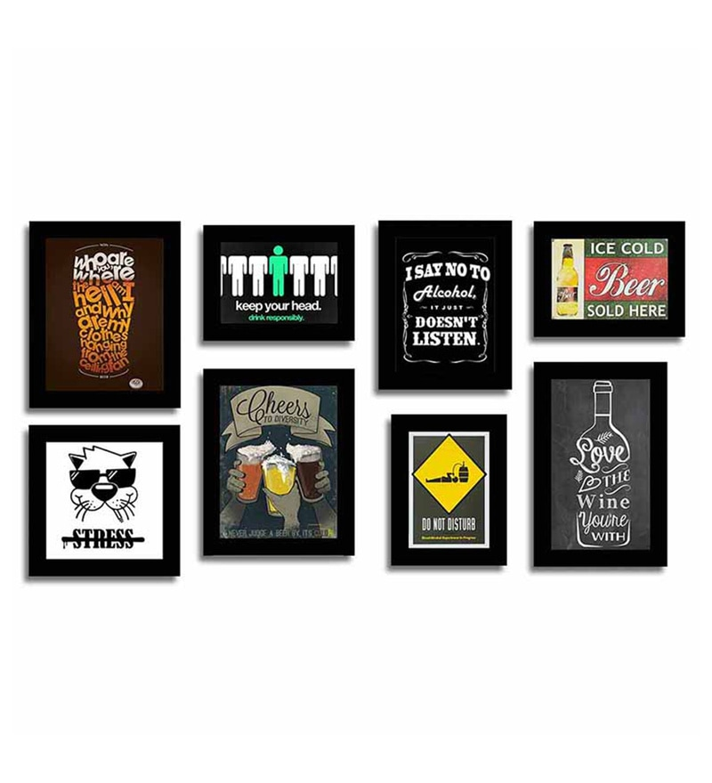 Buy Black Fibre Wood Quirky Quote Frames Bar Theme Wall Quotes Photo