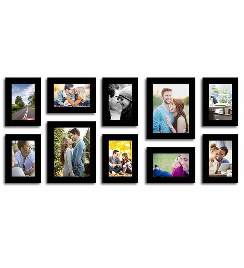 Black Fibre Wood Stature Individual Wall Photo Frame - Set of 10 by Art Street