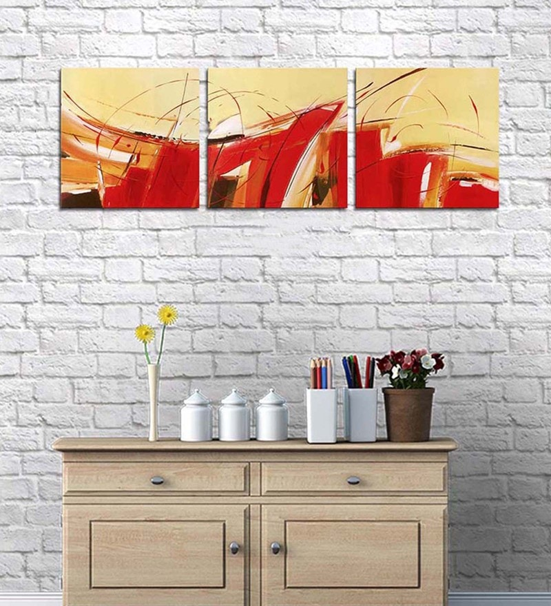Cotton & Canvas 12 x 38 Inch Vibrant'S Abstract Wrapped Canavs Art - Set of 3 by Art Street