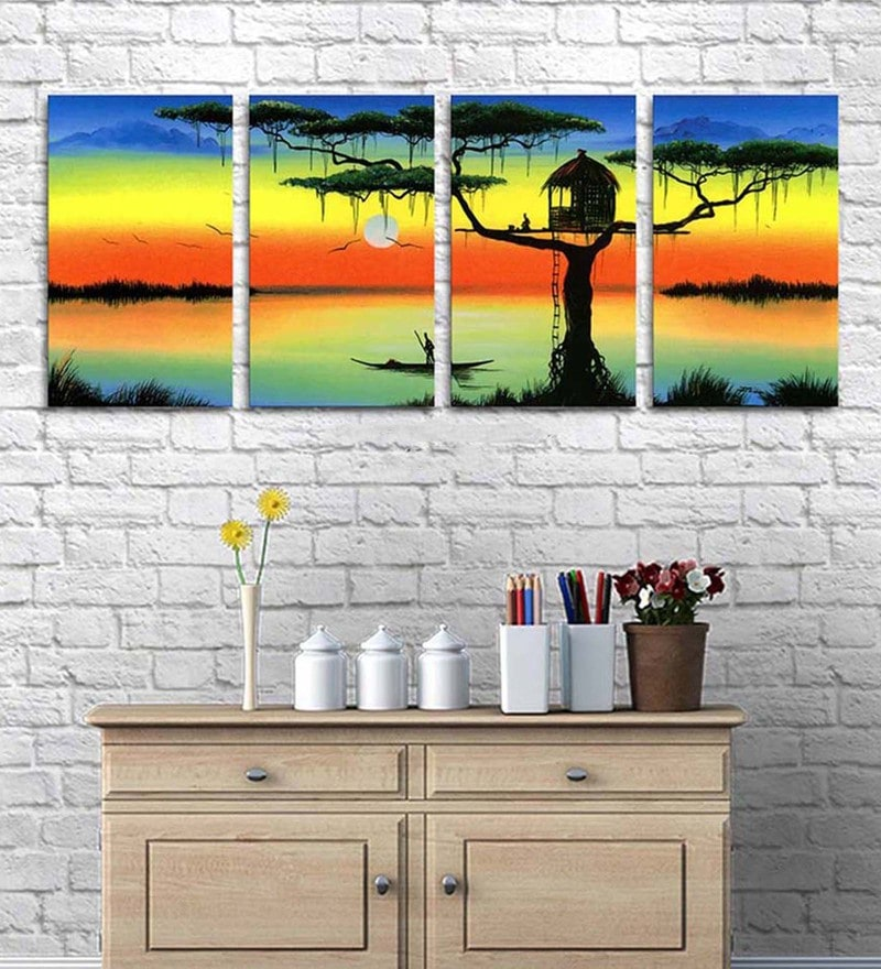 Cotton & Canvas 18 x 46 Inch Tree House Split- Canvas Painting- Set of 4 by Art Street