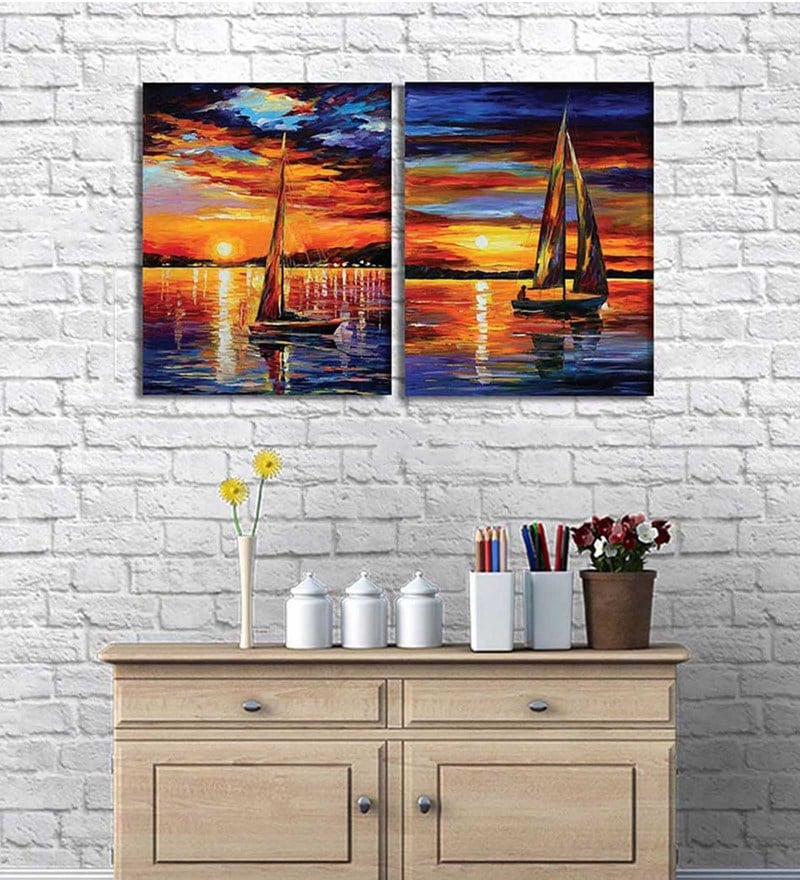 Cotton & Canvas 20 x 32 Inch Vivacious Marine Beauty Original Art On Canvas - Set of 2 by Art Street
