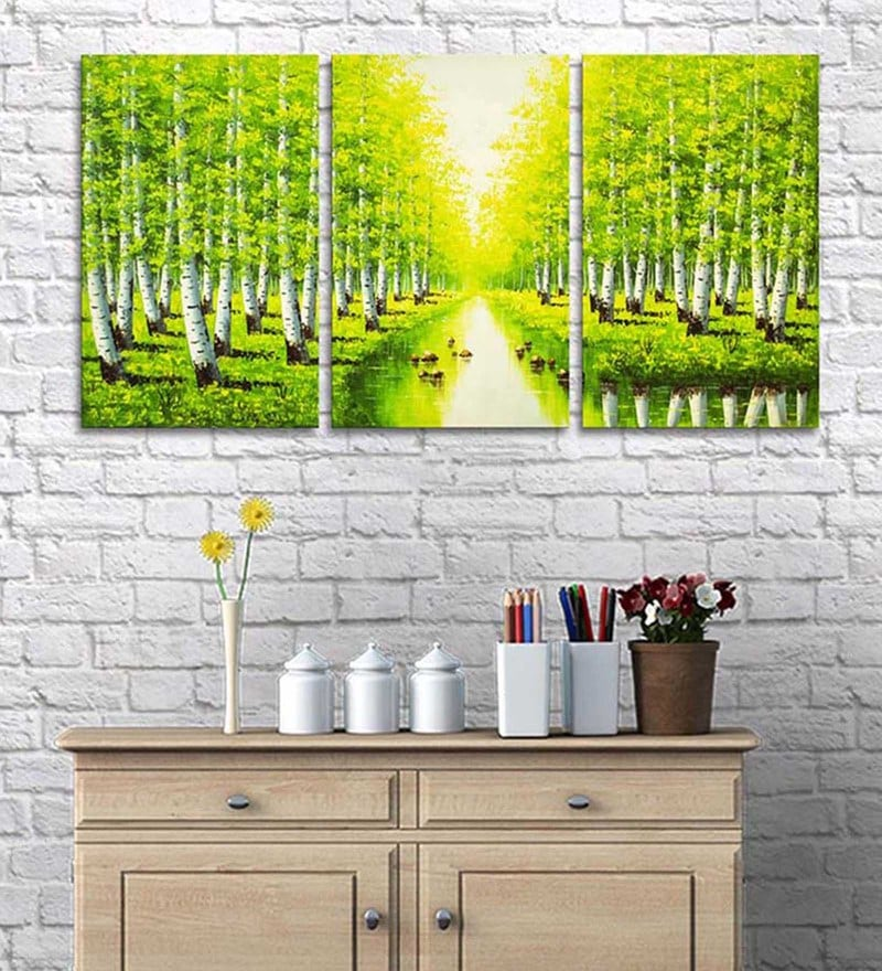 Cotton & Canvas 20 x 36 Inch Foresta Canvas Art - Set of 3 by Art Street