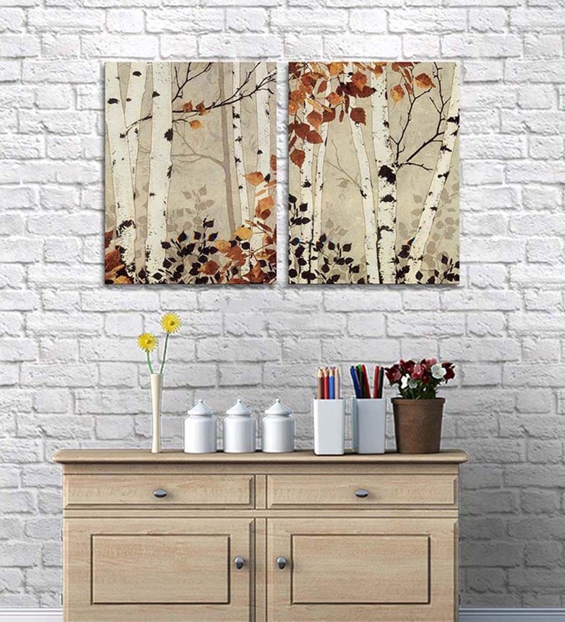 Cotton & Canvas 24 x 36 Inch Autumn Jewels Wooden Plank Canvas Painting - Set of 2 by Art Street