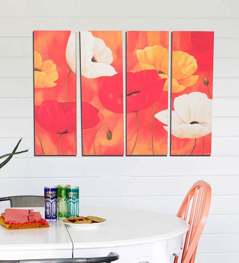 Art Street Cotton & Canvas 24 x 36 Inch Papaveri - Set of 4