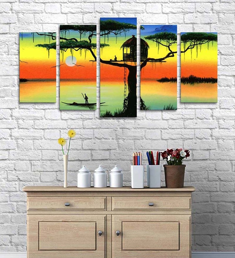 Cotton & Canvas 30 x 60 Inch Tree House Split- Canvas Painting - Set of 5 by Art Street