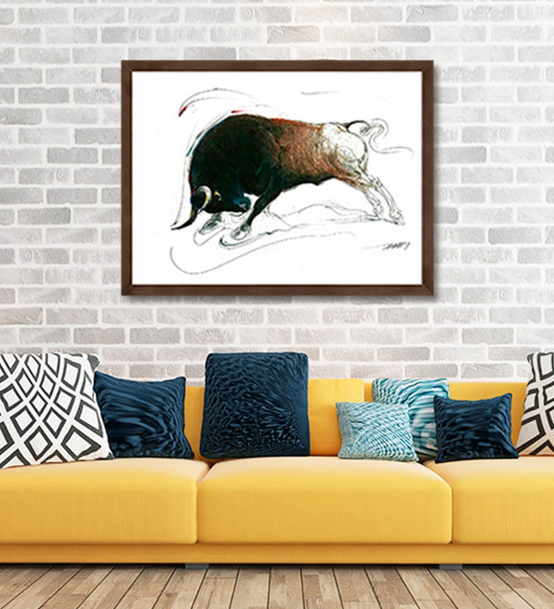 Canvas 15 x 11 Inch Bull Series Framed Limited Edition Digital Art Print by Sunil Sarkar by ArtCollective