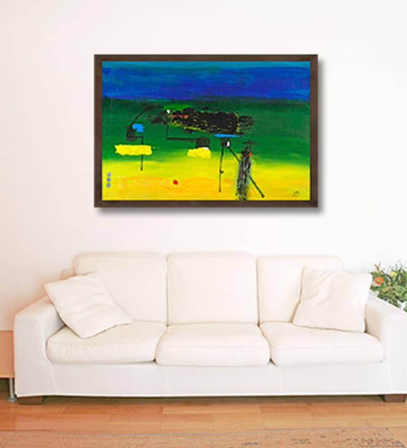 Canvas 36 x 24 Inch Night At The Docks Framed Limited Edition Digital Art Print by Vatsala Menon by ArtCollective