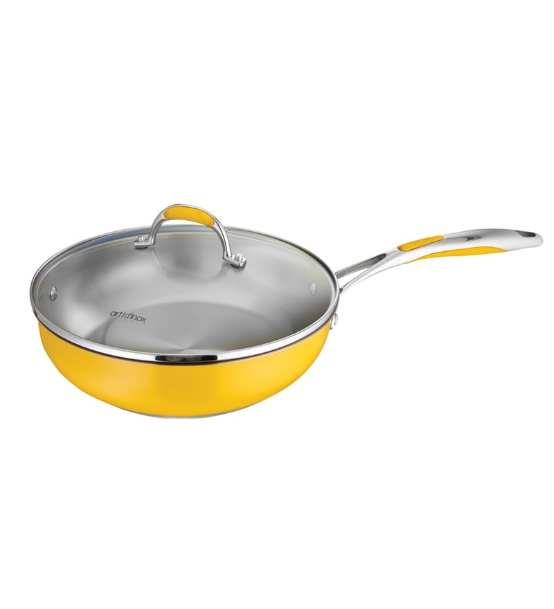 Yellow Non Stick Frying Pan with Glass Lid - 24 Cm by Arttdinox