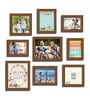 Black Fibre Wood Happy Home Positive Vibes Theme Wall Quote Photo Frame - Set of 9 by Art Street