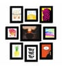 Black Fibre Wood Quote Rise & Shine Theme Wall Quote Photo Frame - Set of 9 by Art Street