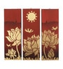 Artelier Multicolour Canvas Lotus Birds Wall Panel
