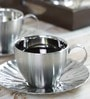 Arttdinox Mushroom Silver Stainless Steel 170 ML Cup and Saucer Set