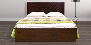 Astra King Bed with Storage in Wenge Colour by HomeTown at pepperfry