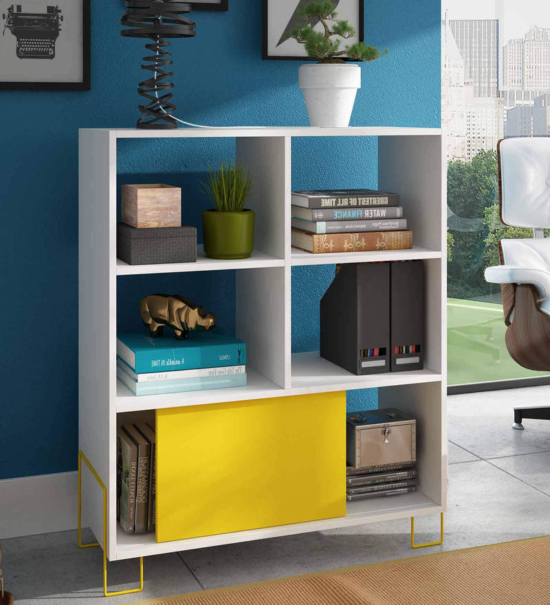 Asahi Display Unit cum Book Shelf in Yellow & White Finish by Mintwud