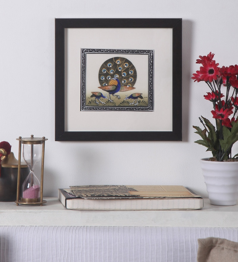 Paper 8 x 8 Inch Rajasthani Pichai of Peacocks Framed Painting by Asian Artisans