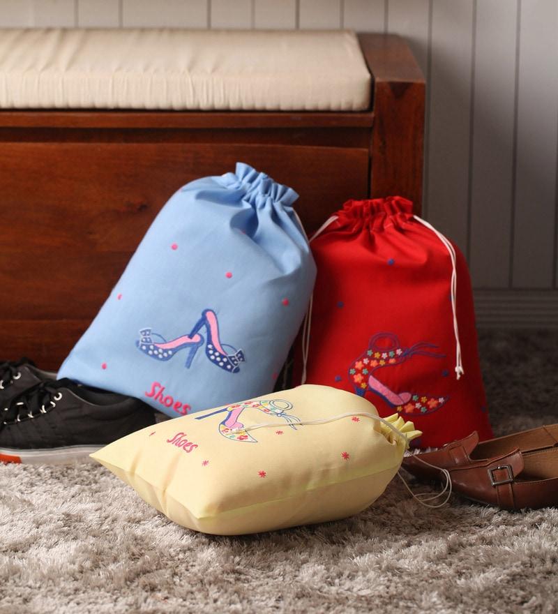 Asian Artisans Shoe Organza Footwear Organizer- Set of 3