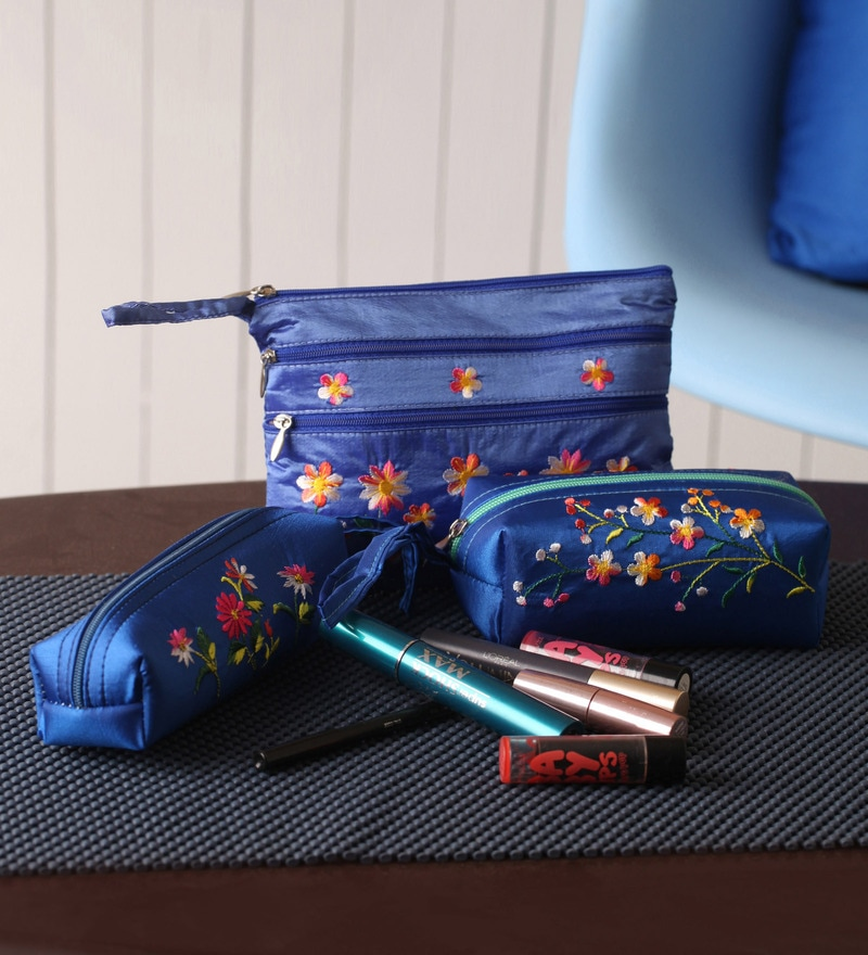 Asian Artisans Silk Dark Blue Travel Accessory Pouch - Set of 3