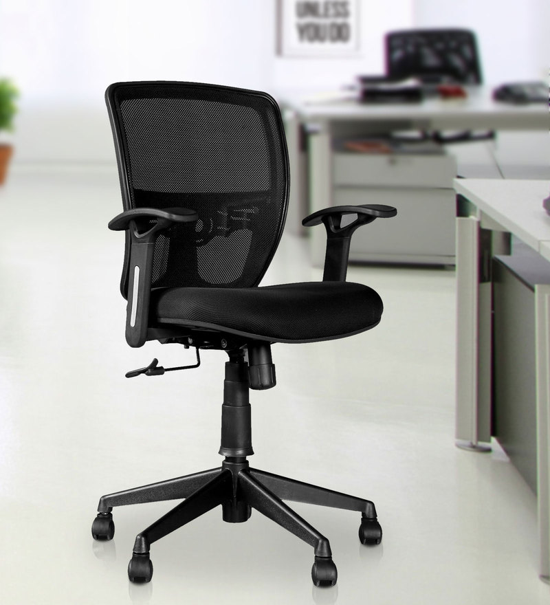 Aspire Medium Back Ergonomic Chair in Black Colour by HomeTown