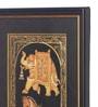 Golden Wood & Cloth 8 x 14 Inch Golden Camel, Elephant & Horse Vertical Framed Painting by Asian Artisans