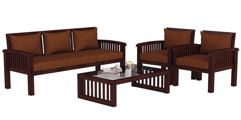 Buy Atlantis Teak Wood Sofa Set (3+1+1) In Mahogany Finish