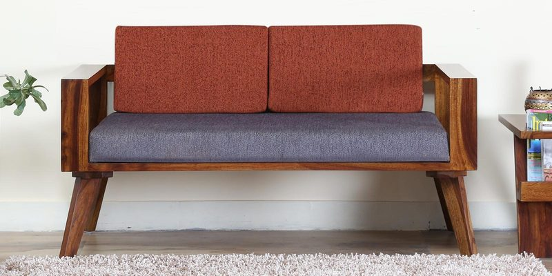 Aura Two Seater Sofa with Rust Cushion in Provincial Teak Finish by Woodsworth