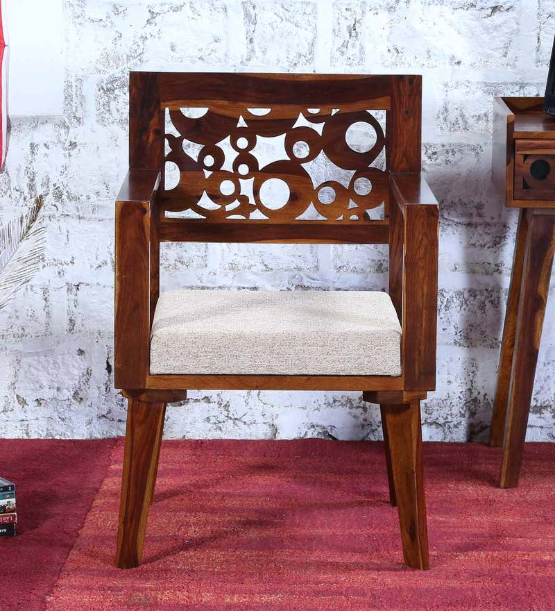 Aura Arm Chair with Cream Cushion Provincial Teak Finish by Woodsworth