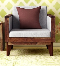 Avilys Solid Wood One Seater Sofa In Provincial Teak Finish