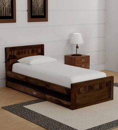 Avilys Solid Wood Single Bed With Trundel In Provincial Teak Finish ...