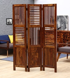 Avilys Solid Wood Three Panel Room Divider In Provincial Teak Finish