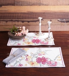 Avira Home White And Pink Cotton Floral Table Mat - Set Of 2