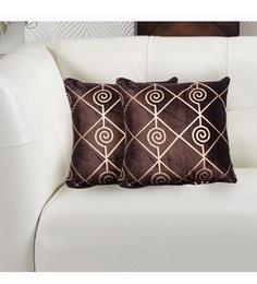 Avira Home Gold And Maroon Velvet 16 X 16 Inch Luxury Metallic Printed Cushion Cover - Set Of 2