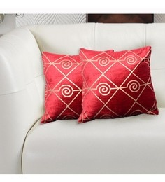 Avira Home Red And Gold Velvet 16 X 16 Inch Luxury Metallic Printed Cushion Cover - Set Of 2