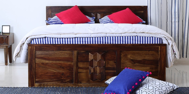 Avilys Queen Bed with Box Storage in Provincial Teak Finish by Woodsworth