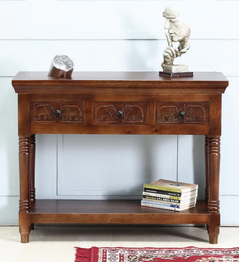 Avagraha Console Table in Provincial Teak Finish by Mudramark