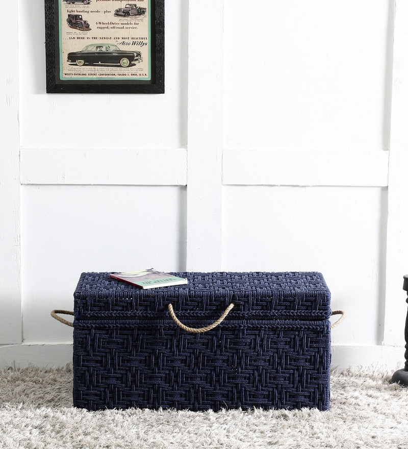 Avapana Trunk with Weaving Work in Blue Color by Mudramark