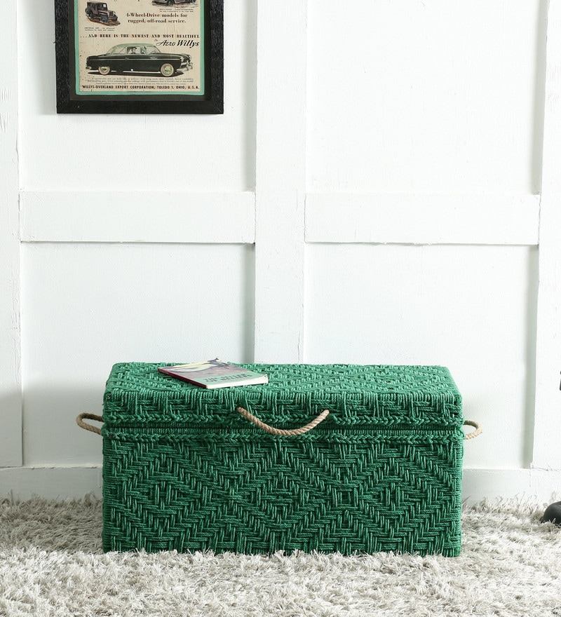 Avapana Trunk with Weaving Work in Green Color by Mudramark
