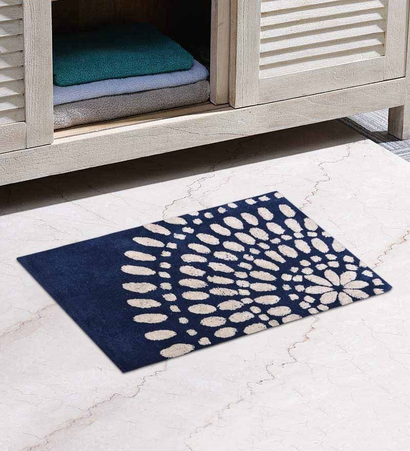 Cream and Blue Abstract Bath Mat by Avira Home