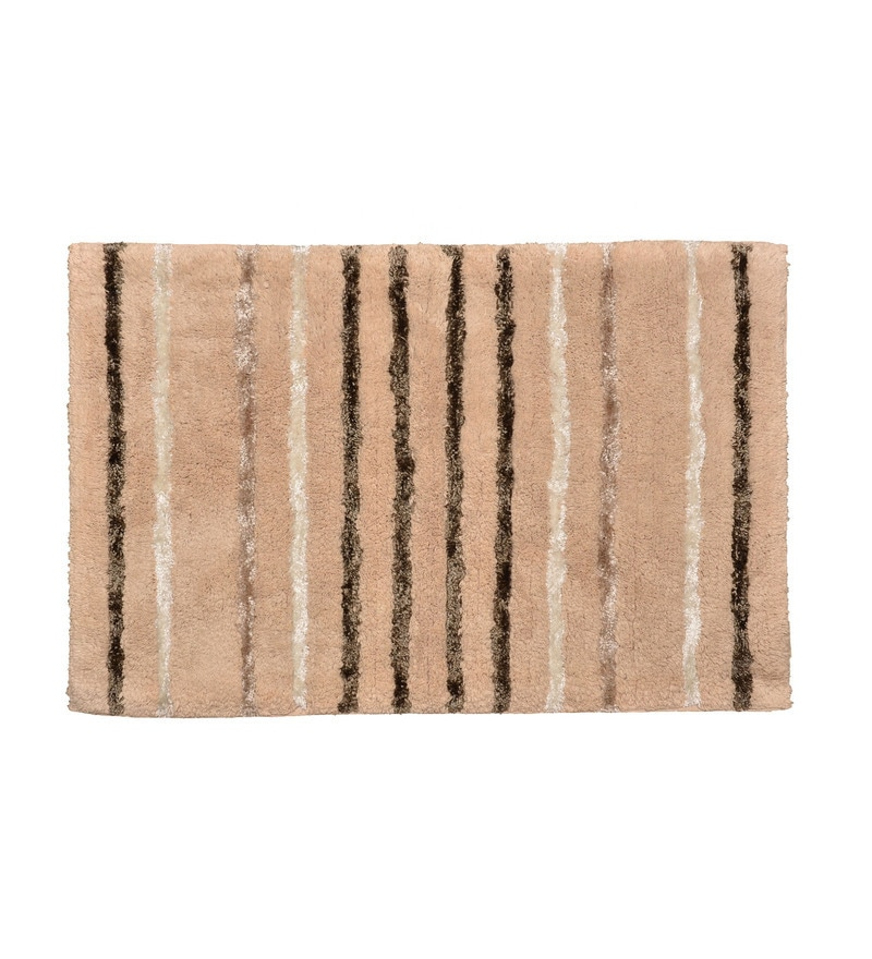 Beige 100% Cotton 22 x 33 Inch Glam Stripes Door Mat by Avira Home