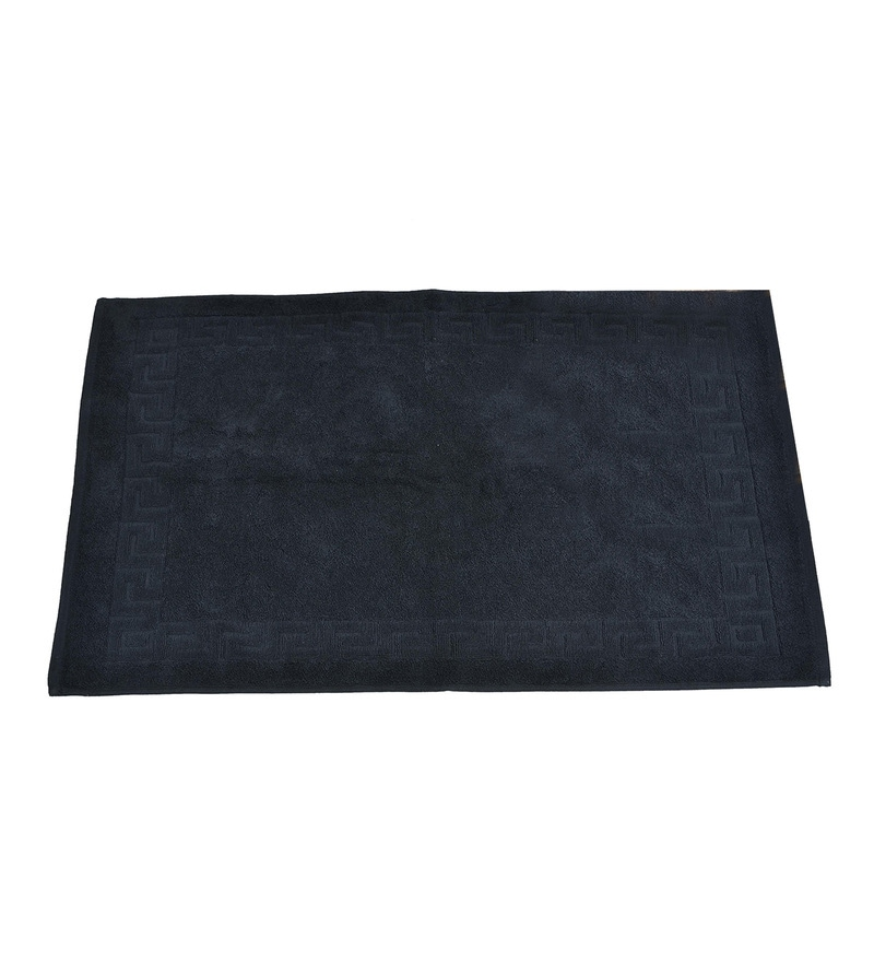 Black 100% Cotton 20 x 30 Inch Greek Design Terry Door Mat by Avira Home