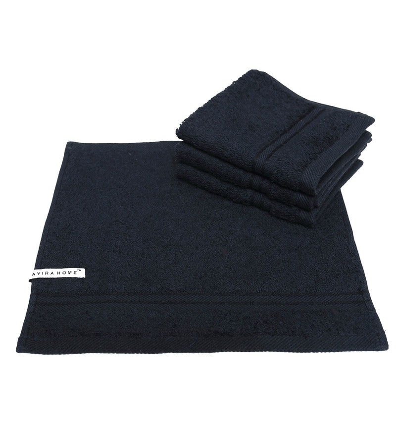 Black Cotton Egyptian Towels - Set of 6 by Avira Home