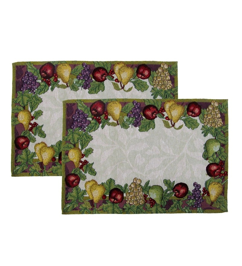 Avira Home Bright Fruit Garden Machine Washable Multicolour Cotton & Polyester Placemats - Set of 2