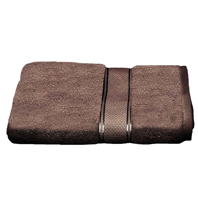 Brown Cotton 27.56 x 48.82 Inch Ultrasoft Bath Towel by Avira Home