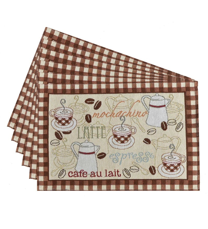 Avira Home Coffee Time Multicolour Cotton & Polyester Placemats - Set of 6