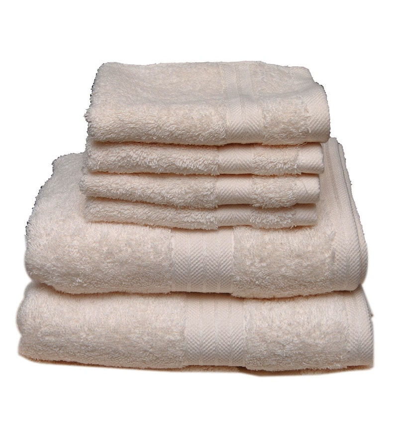 Cream Cotton Egyptian Towels - Set of 6 by Avira Home