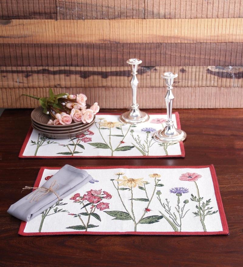 Avira Home White Cotton Floral Stalks Table Mat - Set of 2